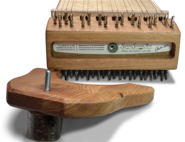 Multichord Gaya 140 Detailansicht Kopf, Frontansicht mit Ständer und Krauf zum Einschrauben