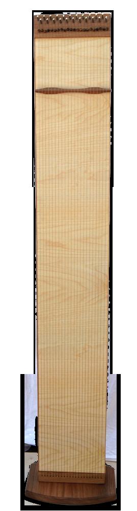 Multichord Elin 160 Seitenansicht, aufrecht mit Ständer Bodenplatte, Monochord Spielflächen
