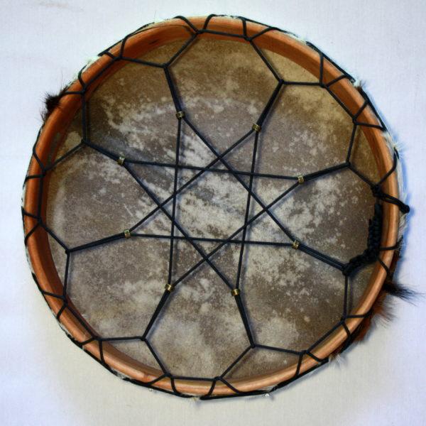 Rahmentrommel Sternchen, Rückseite Sternbespannung, schnell spannbar durch Perlen 2